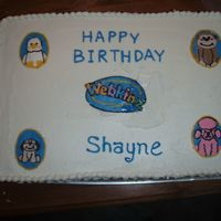 Shayne's Webkinz Cake   My first try at FBCT. Had a little trouble! I will freeze them longer next time. TFL!