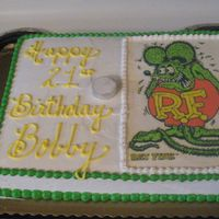 Rat Fink 21St Birthday   half sheet, edible image, buttercream,