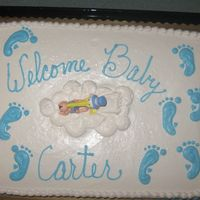 Boy Baby Shower Cake   half sheet buttercream, the baby feet matched the ones on the invitations