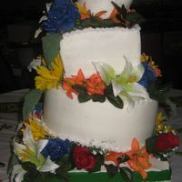 Mexican Topsy Turvy Wedding Cake  This is my very first attempt at a topsy turvy cake, The wedding reception was a fiesta, so that is why the colors are all so bright, the...