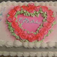 Mothers Day Cake   quarter sheet, buttercream, roses were white buttercream that i airbrushed
