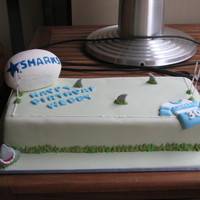 Sharks Footy Cake I made this for a friends 30th birthday. It was a rush job, and I wasn't too happy with it. But it tasted great.