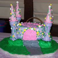 Princess Castle Cake This is a 9 inch round sitting on a 9X13 on a frosted cake board. The turrets are frosted cake and sugar cones. I used a skewer to add...