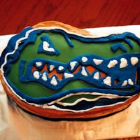 Florida Gators  Yellow Cake w/ orange buttercream. All decorations (gator head, etc) in fondant. I used the Wilton oval pans & carved the shape of the...