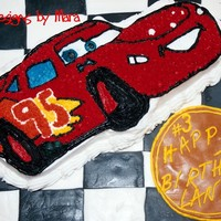 Lightning Mcqueen  I used the Wilton Cars cake pan & covered the board in fondant. The RustEze emblem is also fondant & a great place for the birthday...