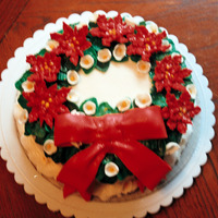 Poinsettia Cake This cake was for my SIL. She collects Avon collectible platters, etc in this beautiful reddish burgandy colr & I was trying to match...