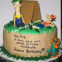 Phineas & Ferb Yellow WASC iced in butercream. All decorations are fondant/gumpaste.