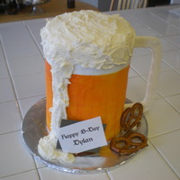 "Beer Mug Cake I used 4, 6"" cake stacked and then decorated it!!!"