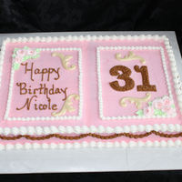 Nicoles Birthday Happy 31 Base of cake frosted all in buttercreme, this young lady loves pink and brown together, I melted white chocolate and molded into swrils...