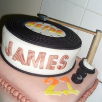 James 21St Birthday 8 inch round Cherry Ripe Mud CakeRectangle Vanilla CakeCovered in fondant with fondant decoations. Dowel used for record needle