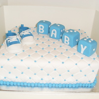 Aimee's Baby Shower Cake 9x11 inch rectangle chocolate mud cakecovered in white fondantquilted with blue drageeshand made converse baby shoes (thanks for the help...