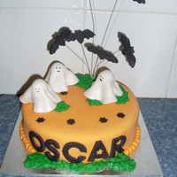 Oscars 6Th Birthday Cake - Halloween Themed 8 inch round chocolate cake, covered in fondantfondant decorations