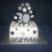 Christopher's 30Th Birthday Cake 8 inch square chocolate mud cakecovered in fondantfondant stars, silver cachous