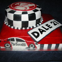 Dale's 21St Birthday Cake 11x13 inch rectange chocolate mud cake8 inch round caramel mud cakecovered in fondantholden sign & peter brock car made with fondant