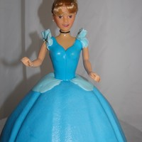 Cinderella Chocolate Cinderella Birthday cake with Vanilla Buttercream. Doll dress top is fondant.
