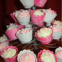 Pink Cuppies Vanilla cupcakes with vanilla buttercream. Gumpaste apple blossoms and daisies.