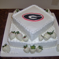 Ga Bulldog Groom's Cake This 2 tier Groom's cake is chocolate with raspberry filling, buttercream icing and white chocolate covered strawberries. It was the...
