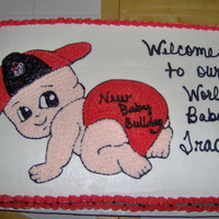 Georgia Bulldog Baby Shower Cake I used the Special Delivery cake pan instructions and traced it on a sheet cake for a friend's Baby Shower.