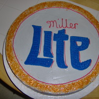 Miller Lite Bottle Cap Birthday Cake I copied a Miller Lite bottle cap and transferred it to a cake for a friend of mine.