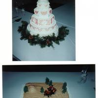 Christmas Wedding Cake & Groom's Cake I done this Wedding Cake for my sister. It is the Hexagon shape with buttercream icing. The red icing started melting (that's why it...