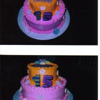 15Th Birthday Cake I done this 2 tier cake for my daughter's 15th Birthday. My daughter picked out the colors and I bought royal icing flowers.