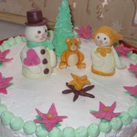 Snowpeople wallnut cake, whipped cream and powder milk fondant figurines. Thanks for looking.:)