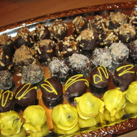 Cake Balls ---peanut butter with chocolate cake and pretzels