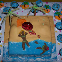 Beach Wedding this was done for a young bride who wanted a beach themed party!chocolate cake with fondant accents. The bride and groom are made out of...