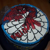 Spiderman Martha´s Vanilla Cake with buttercream icing. Spidey-FBCT--building fondant