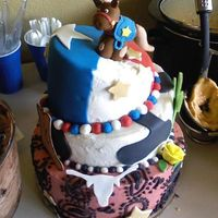 Rodgers House Warming.... Cowboy Theme! Funfetti cake, with BC icing with MMF accents. 6/8/10 rounds. My first attempt at a topsy turvy cake. I was more worried about the top...