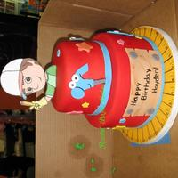 "Handy Manny Smash cake for a high maintance mom! She wasn't happy with a regular 6"" round, she wanted two tiers, but didn't want all the..."