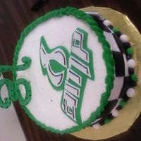 "Gina's Cake Gina is a big Dale Jr fan! So she requested a 10"" chocolate cake with buttercream (only fondant accents)."