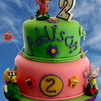 "Addison's Cake 10"" and 8"" yellow cake with BC. The plastic figures were provided by the client."