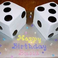 Dice 3D dice iced in buttercream.