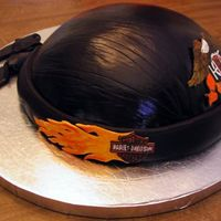 Leather Skull Cap I made this cake to go with the Harley Vest. It's made from the Wilton soccer ball pan. It's covered in chocolate MMF. Decals are...