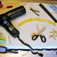 Salon I made this cake for a Cosmetology graduate. Buttercream frosted half sheet cake. Hair dryer is cake covered in fondant. All other...