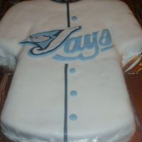 Toronto Blue Jays Jersey Cake all fondant.....hand made the stencil from picture i printed off the interent and then cut out....