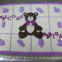 Bear Blanket For my DD's 2nd baby shower (same baby). BC, baby items are fondant, bear and letters are Wilton candy melts. This idea came from Mac...