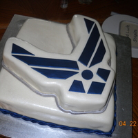 Usaf Symbol I made this for the retirement of a close friend. It was an Italian cream cake (my first cake with nuts), BC and MMF. The humidity was...
