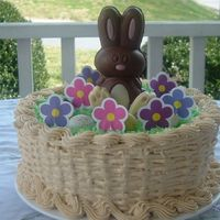 "Easter Basket 9"" WASC with all buttercream. My first attempt at a basket weave and rope border with nearly no practice...obviously! (I saw a pic of..."