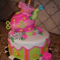 Teaparty Cake This was my first teapot...it's for a little girl named Elizabeth. Her mom gave me free reign on the design, so this is what I came up...