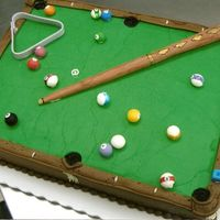 Pool Table All iced in buttercream with a sculpted fondant pool set.