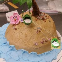 Island Themed Baby Shower Cake The shower's theme was a luau. The basinette made of gum paste palm tree leaves contained a buttercream monkey face under a fondant...