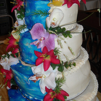 Tropical Wedding Cake This was made for a couple that got married in Hawaii. This is what the cake was suppose to look like until the 3rd tier down started to...