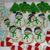 Christmas Cookies   This years Christmas assortment. These sugar cookies are decorated with buttercream frosting.