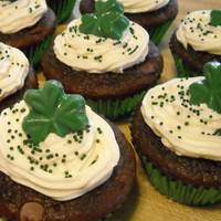 Shamrock Cupcakes double chocolate chip with mint filling