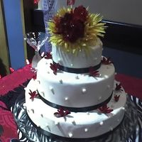 Samantha's Cake WASC w/BC, MMF pearls, silk flowers - I didn't arrange the flowers, just stuck them on the cake. The bride had asked a bridesmaid, who...