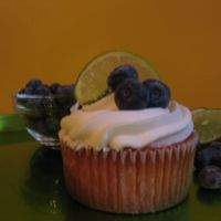 Thrill Me! This is my Blueberry Lime Cupcake. The buttercream is my signature scratch recipe and the cake is Lime.