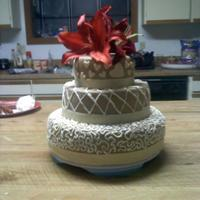 Cream Colored Wedding Cake red velvet wedding cake :)