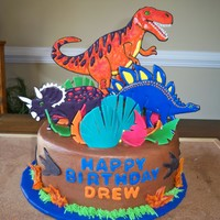 Dinosaurs Vanilla cake with choclate filling and frosting, color flow icing dinosaurs, other accents are fondant, gumapste or modeling chocolate